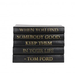 Stack of 5 Books-Black Leather Tom Ford Quotes