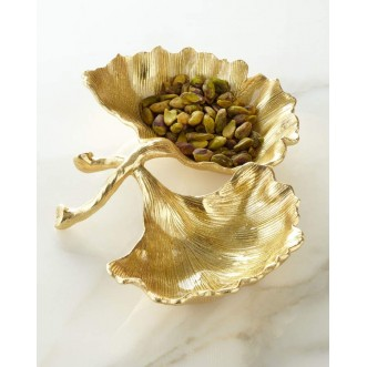 NEW LEAVES GINKGO DOUBLE COMPARTMENT DISH Insel