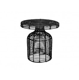 Cuba Side Table-Black Rattan