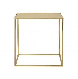 Cube Side Table-Gold Metal