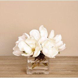 White Magnolia in Glass Vase- Small