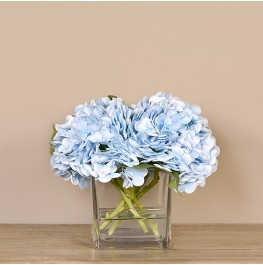 Sky Blue Hydrangea Arrangement in Glass Vase- Medium