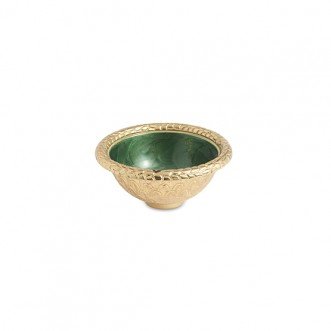 Florentine Emerald Set- Rectangular Tray Gold & Round Bowl Gold Insel