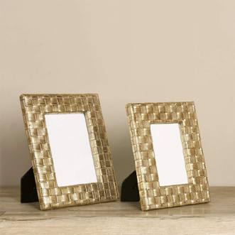 """Gold Woven Frame- 4""""x6"""" Insel"""
