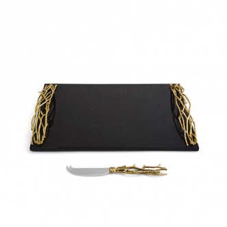 Twig Gold Large Cheese Board w/ Knife Insel