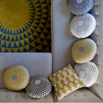Concentric Cushion- Chartreuse / Dove Grey Insel