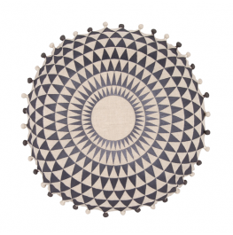 Concentric Cushion- Slate / Natural Linen